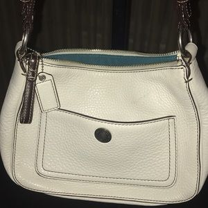 White pebbled leather Coach Authentic purse